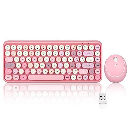 Perixx PERIDUO-713 Kit Mouse e Tastiera senza fili da 2.4 GHz, tasti arrotondati dallo stile retro, layout italiano, rosa pastello