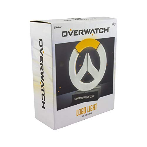 Paladone Collectable Overwatch Logo Light | Ideaal voor Kinderkamers, Kantoor & Huis | Pop Culture Gaming Merchandise, Wit en Oranje, 8 x 2 x 24 cm