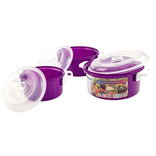 Lantelme 3 Stück Mikrowellenschüssel Set Kunststoff Farbe violett Mikrowelle Schüssel mit Deckel Spülmaschinenfest 4523