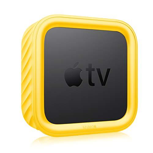 SITHON Silikon Hulle fur Apple TV 4K 2nd 1st GenApple TV HD leicht stosfest rutschfest Schutzhulle fur Apple TV 4K 2021HD 4th Generation Gelb