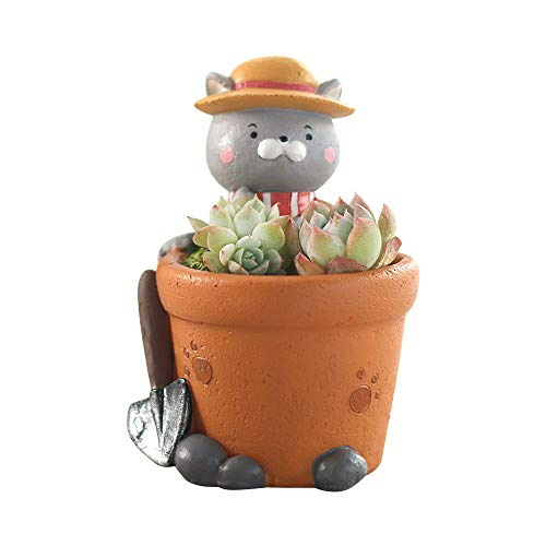 JKXWX Kat Succulente Cactus Bloem Pot Cartoon Mini Dier Leuke Succulente Potten Planter Container Hars Planten Vaas voor Thuis Tuin Kantoor Bureaublad Decoratie