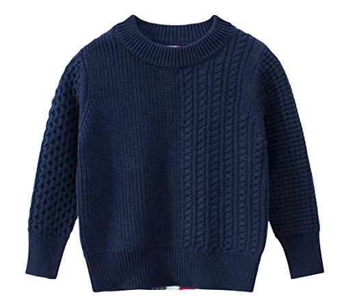 DEMU baby gebreide jas voor kleine kinderen trui ronde hals gebreide jas trui 110 donkerblauw