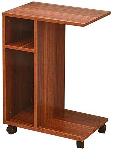 JIAHE115 Draagbare kleine salontafel computerbureau mobiele laptop tafel bijzettafel met legvlak voor de woonkamer balkon salontafel van hout met wielen