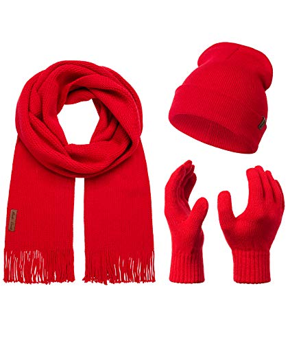 Rock Creek Winter Mütze Schal Handschuh-Set Geschenkset Wintermütze Winterschal Winterhandschuhe Herrenmütze Damenmütze U-100 Rot Einheitsgröße