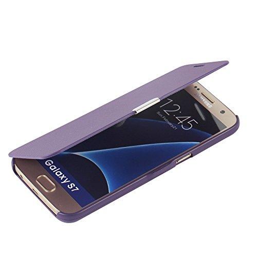 MTRONX für Samsung Galaxy S7 Hülle, Case Cover Schutzhülle Tasche Etui Klapphülle Magnetisch Dünn Leder Folio Flip für Samsung Galaxy S7 - Lila(MG-PP)