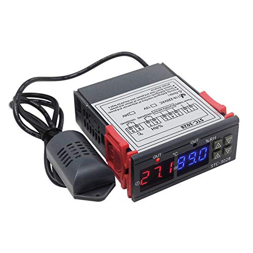 RUIZHI Misuratore di Umidità Digitale per Temperatura, 110-220V 10A con Sonda Riscaldamento Raffreddamento Umidostato Termostato per Riscaldatore di Acqua Frigorifero Umidificatore