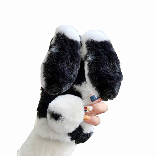Miagon Colorful Cow Furry Case for Samsung Galaxy Note 20,Diamond Cover Girls Women's Super Soft Winter Warm Funny Rabbit Ears Faux Fur Plush Fluffy Cover