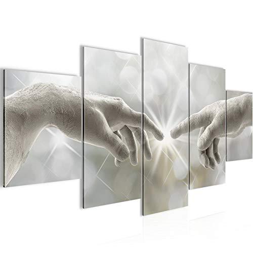 Bilder Erschaffung Adams Michelangelo Wandbild 200 x 100 cm Vlies - Leinwand Bild XXL Format Wandbilder Wohnzimmer Wohnung Deko Kunstdrucke 5 Teilig - MADE IN GERMANY - Fertig zum Aufhängen 612051a