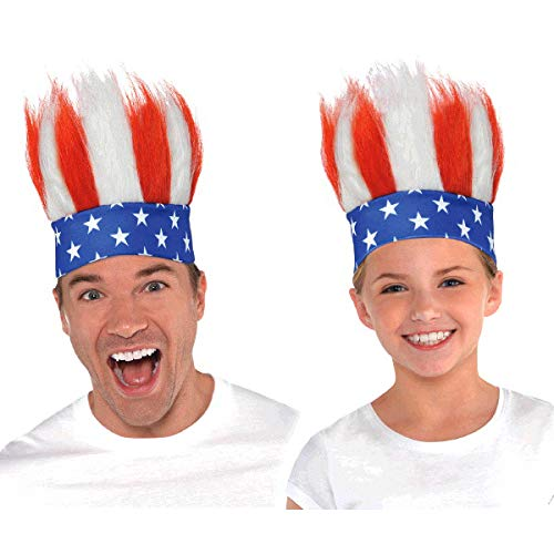Amscan All – Fourth américaine du Juillet Crazy Accessoire Bandeau de Cheveux, Tissu, Taille Standard Standard Size Multi Color