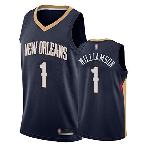 Zion Williamson Jersey für Damen und Herren, Pelikans 1# Weste T-Shirt 2021 Basketball Trikots Tank Top und Shorts (S-XXL) Gr. M, dunkelblau