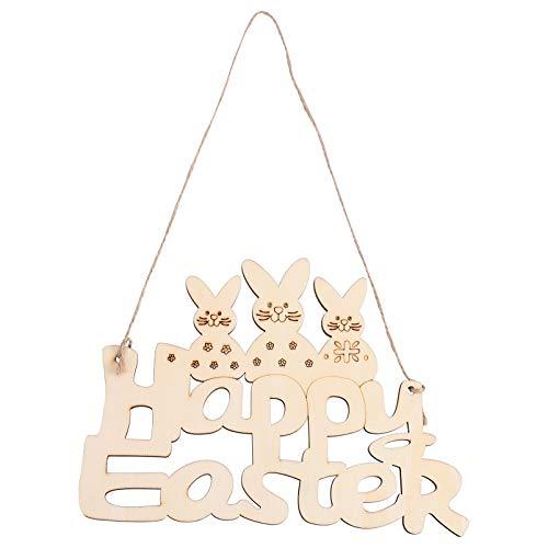 ABOOFAN Decoración de Conejito de Pascua Decoración de Feliz Pascua Signo de Pascua Decoración de Pared Decoración de Pascua Placa Colgante Decorativo Signo Guirnalda Colgante de Pascua
