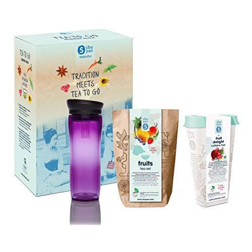 Shuyao Teekultur Fruits Tea Set naturreiner loser Früchtetee (Tee Set + Vorratsdose + Thermobecher violett)