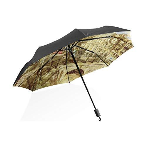 DEZIRO Amsterdam Landschap Schilderij Outdoor?Paraplu voor Zowel zon als regen waterdicht