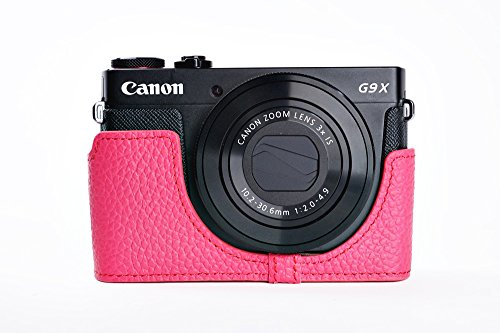 Handmade Genuine Camera Half Leather Case Bag Cover for Canon PowerShot G9 X G9x - Rosered