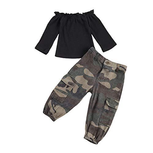 Conjuntos para Niña Ropa Niña de Otoño Primavera 2 Piezas Camiseta Manga Larga Cuello Barco + Pantalones Largos Camuflaje para Niñas de 1 a 6 años (Camuflaje, 1-2 Años)