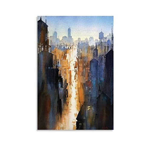 Thomas Schaller Watercolor City Posters Canvas Art Poster and Wall Art Picture Print Modern Family Bedroom Decor Posters 08x12inch(20x30cm)