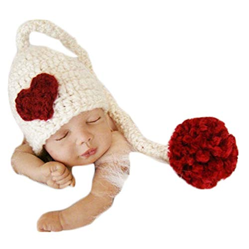 Baby Newborn Photo Props Handmade Red Heart Cap Crochet Knitted Unisex Baby...