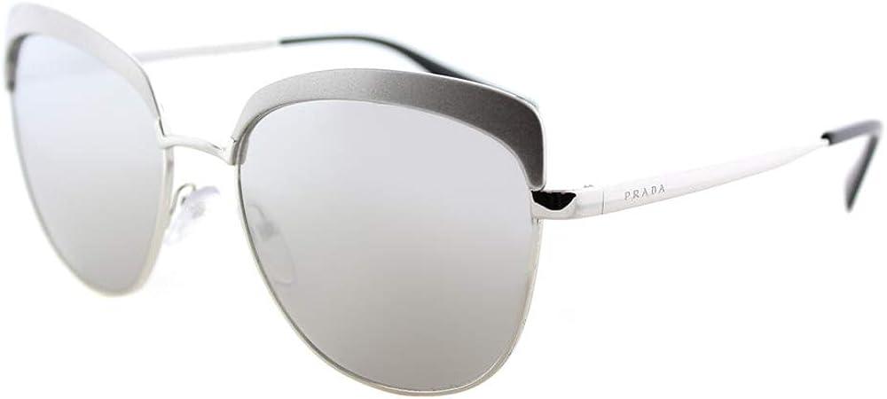 Prada, occhiali da sole per donna, montatura in metallo color argento, lenti colore grigio argento colorato PR51TS