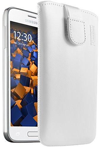 mumbi ECHT Ledertasche für Samsung Galaxy S5 Mini Tasche Leder Etui weiss (Lasche mit Rückzugfunktion Ausziehhilfe)