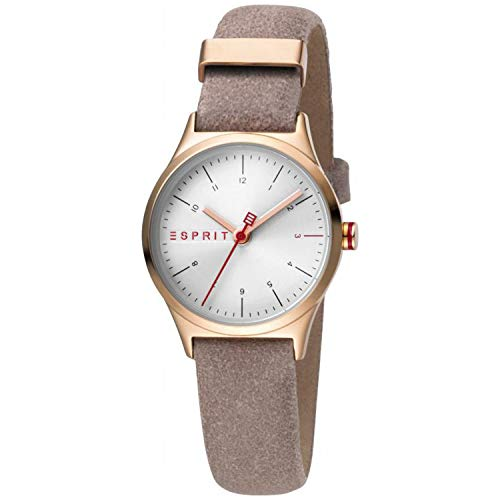 Esprit Edelstahl-Uhr mit Lederarmband