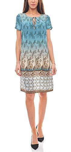 rick cardona by heine Kleid Damen Druckkleid Sommerkleid Casual Blau, Größenauswahl:36