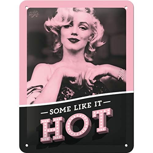 Nostalgic-Art Cartel de Chapa Retro Marilyn – Some Like It Hot – Idea de Regalo para los Aficionados al Cine, metalico, Diseno Vintage, 15 x 20 cm