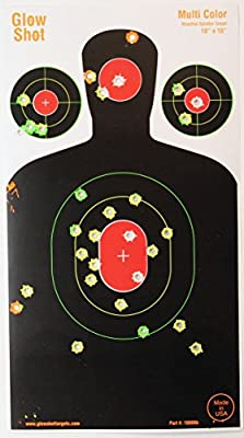 """25 Pack 18"""" x 10"""" Silhouette Splatter Target - Multi-Color -GlowShot Targets - See Your Hits Instantly"""