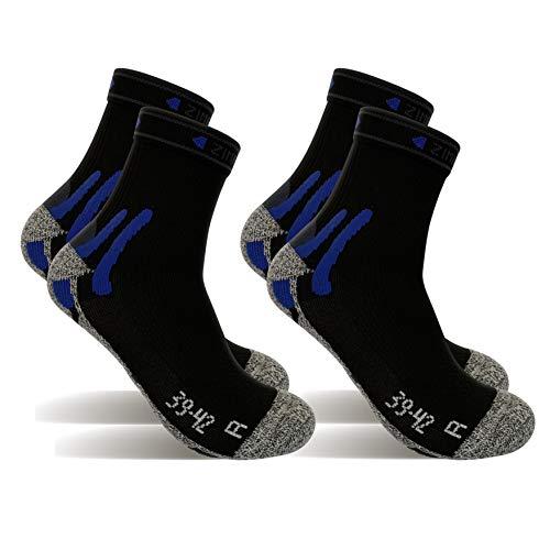 2 Pares Calcetines running tecnicos, calcetines de deporte (Negro, M)