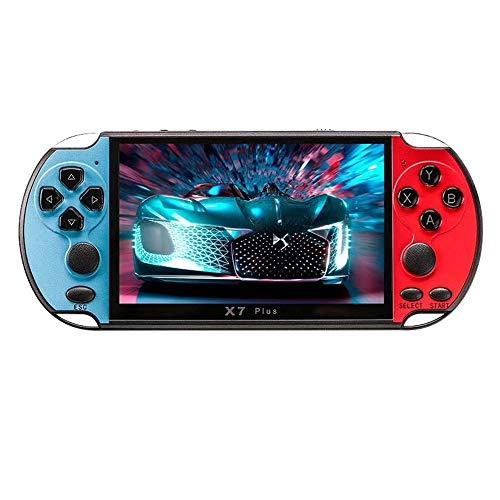 Consola de juegos portátil X7 PLUS Consola de juegos con joystick dual de 5.1 pulgadas 8GB Consola de videojuegos incorporada de 1000 juegos Consola de videojuegos de 32/64/128 bits (rojo + azul)