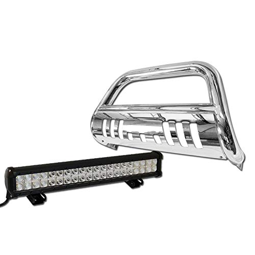 Topline Autopart Stainless Steel Chrome HD Bull Bar Brush Push Front Bumper Grill Grille Guard V2 w/Skid Plate + 120W CREE LED Fog Light Lamp For 05-07 Jeep Grand Cherokee / 06-10 Commander