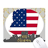 アリゾナ州の地図の星形のストライプの旗 クリスマスイブのゴムマウスパッド