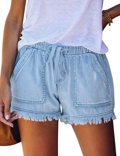 ANFTFH Women's Mid Rise Rolled Casual Jeans Soft Summer Elastic Waist Pocketed Jeans Shorts Light Blue L