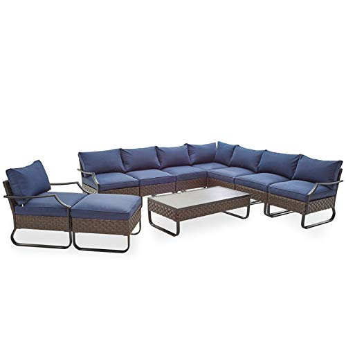 Romayard 10 PCS Patio Conversation Set Outdoor Metal Furniture All-Weather Steel Frame Sectional Sofa Set with Cushions for Garden,Lawn,Pool