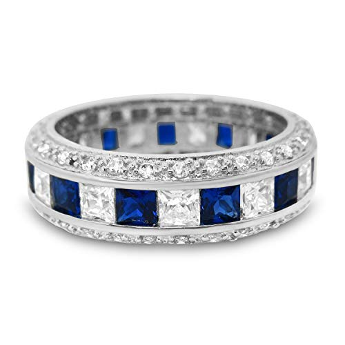 Sterling Silver Anniversary Wedding Band Ring Blue Simulated Sapphire Size 6