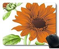 大きなオレンジ色の花ネオプレンゴム標準サイズのマウスパッド