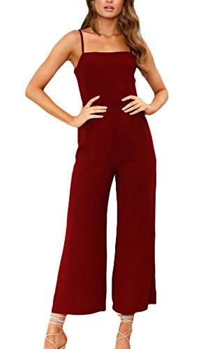 Overall Damen Lang Sommer Ärmellos Sling Rückenfrei Casual Loose Einfarbig Fiesta Kleidung Rompers Cocktail Party Abendgarderobe Jumpsuit Playsuit (Color : WineRed, One Size : XL)