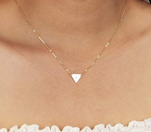 Customized Small Silver Triangle Necklace, Dainty Gold Triangle Letter Pendant Necklace, Initial Geometric Jewelry, Rose Gold Monogram Triangle Layered Necklace