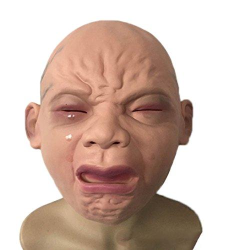 Emorias 1 Pcs Mascara Latex Bebé Llorando Terror Prop Casa Embrujada Disfraz Mascarada Careta Respirable Cospleyarse Creepy Máscara
