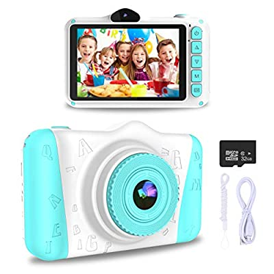 WOWGO Kids Digital Camera - 12MP Children's Selfie Camera with 3.5 Inches Large Screen for Boys and Girls,1080P Rechargeable Electronic Camera with 32GB TF Card by