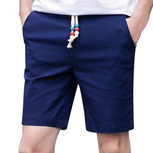 Styledress Herren Shorts Sommer,Herren Badehose Denim Shorts Jeans Sport Shorts Männer Leinen Baumwolle Elastische Kurze Hosen Jogging Hose Trainingsshorts Sporthose (Marine, 3XL)