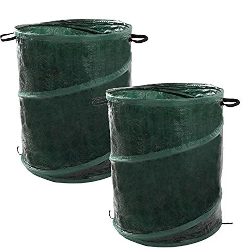 Anaterra 2X Laubsack Garten-Abfallsack, Pop-Up Laubbehälter mit verstärktem Rahmen, 160 Liter, grün, faltbar