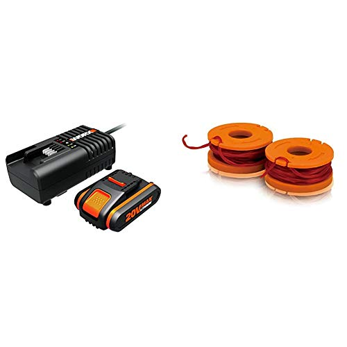 WORX WA3601 Akku mit Ladegerät Set: 20V 2000mAh Li-Ion Akkubatterie & Akku Ladestation & WA0004.1 Rasentrimmer Faden für alle 20V WORX Rasentrimmer – Ø 1,65mm, 3m Länge – 2er Set