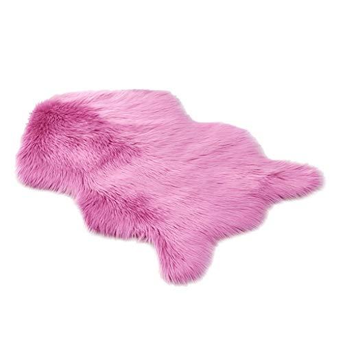 Sunnymi - Alfombra de lana de imitación de lana, forma irregular, felpudo ultrasuave, lavable, para sofá, sala de estar, dormitorio, alfombra peluda, piel sintética, hot pink, 23.62 x 35.42inch