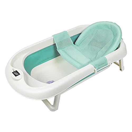 EINFEBEN Faltbare Badewanne Neugeborene Kleinkind Babywannensitz Faltbare Babybadewanne mit Echtzeit-Temperaturerfassung Einfach zu verstauen,Badewanne für Babys mit Baby-Badenetz und Schöpfkelle Grün