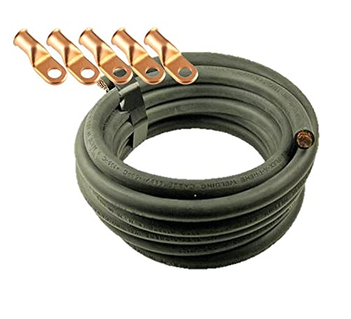 Crimp Supply Ultra-Flexible Car Battery/Welding Cable - 1/0 Gauge, Black - 10 Feet - and 5 Copper Lugs