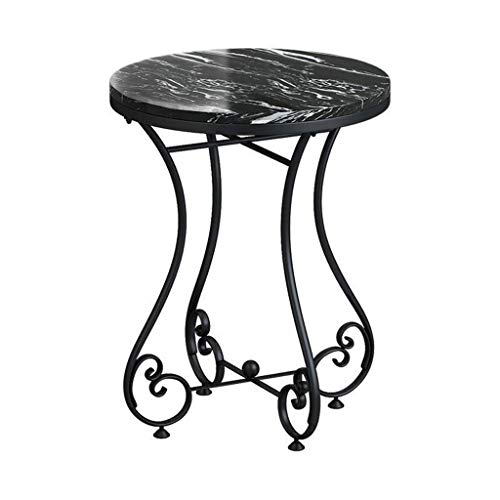 "Coffee Table Round Side Table Marble Tray Table with Black Wrought Iron FrameNightstand Coffee Table End Table for Living Room Bedroom Office Small Spaces, 25' H X 20""D (White & Black)"
