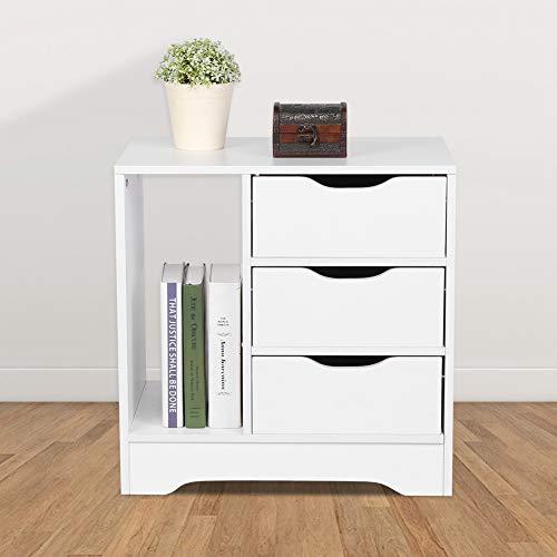 Nachttisch, Schrank, Schrankkiste, Tisch, Hochglanz für Schreibtisch für Schlafzimmer für Möbel für Zuhause(White)