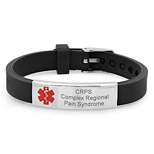 LF Free Gravur Custom Edelstahl Medical Alert Complex Regional Pain Syndrome CRPS Armband Krankheit Allergie Identifikation ID Silikon Bangle Emergency Life Saver Armreif für Sohn,Tochter,Mama,Papa