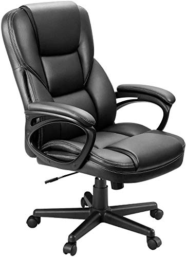 KOVALENTHOR High-Back Big and Tall Office Chair, Ergonomic PU Desk Task Executive Chair Rolling Swivel Chair Adjustable Computer Chair with Lumbar Support Headrest Leather Chair for Women, Men (Black)