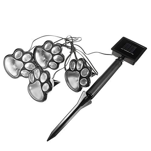 Paw Print Solar Ground Lights Set Outdoor Solar Lawn Lamp Creative Animal Footprint Lamp Garden Led Lamp Bear Claw Lamp(color:Black)